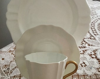 Wedgewood white and gold fluted trio