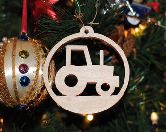 Tractor Wooden Christmas Tree Ornament