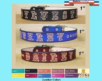 Custom Leather Dog Collar - Large Dog Collar Personalized with Name - 1 Inch wide Dog Leather Collars - Stylish Dog Collars Personalized