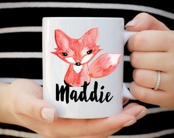 Fox Mug, Custom Name Fox Mug, Birthday Mug, Teenage Birthday Mug, Kids Birthday Present, Kid Mug, Woodland Creature Mug, Forest Whimsical