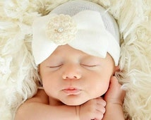 40% Off SALE NOW A Best Seller! Newborn Hospital Hat Baby's 1st Keepsake! With Pretty Bow, Signature Flower and Pearl. Choice of F