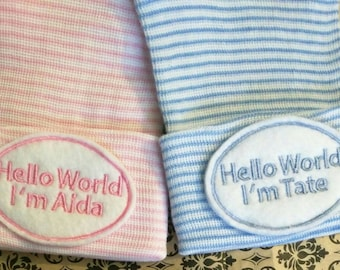 Newborn Hospital Hat Monogramed with Hello World & Name! For a BOY or Girl! You Choose Hat. 1st Keepsake! Super Cute!