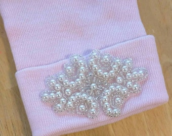 Newborn Hospital Hat! EXCLUSIVE To This Shop! Pearl Keepsake!  Beautiful Baby Great Gift.
