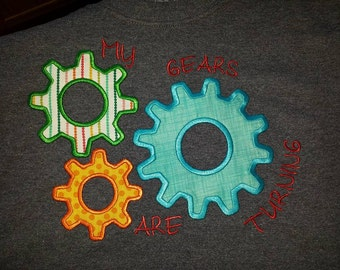 My Gears are Turning Mechanical Engineer Embroidery Design DIGITAL DOWNLOAD 5x7 6x10