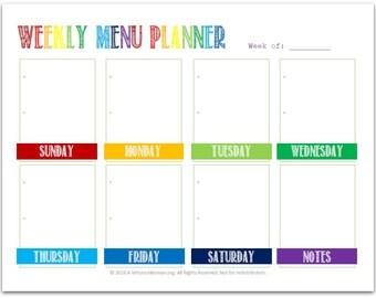 PDF: Weekly Menu Planner