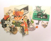 Vintage cat paper craft pack: 40 pieces of pictures and die cut style pictures. Ephemera for scrapbook, collage, card making, journals PE290