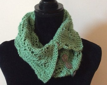 Hand knit lacy cowl with buttons,  ready to ship