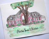 Custom Painted Home, Watercolor House Painting