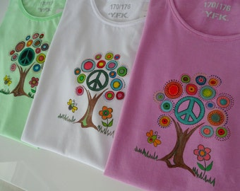 hand painted, hand painted T shirt, peace sign, hippie shirt, peace, women t shirt, cotton, textile, purple, green, white, ready to ship