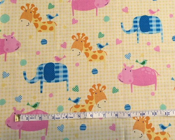 Yellow gingham nursery animal cotton quilting fabric cotton for Yellow nursery fabric