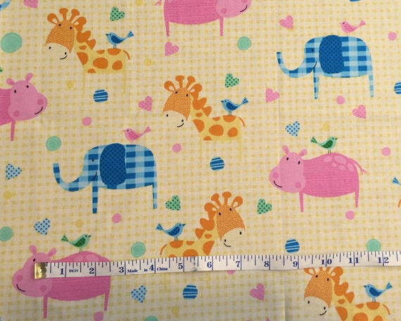 Yellow Nursery Fabric Of Yellow Gingham Nursery Animal Cotton Quilting Fabric Cotton