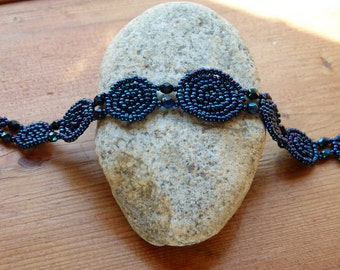 Handcrafted Seed Beaded Rosette Bracelet-Metallic Blue
