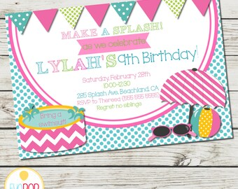 POOL PARTY INVITATION - Birthday Invitation - Make a Splash! - Digital Printable - Pink Green Blue