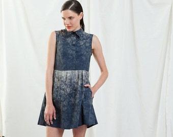 SUMMER SALE , Blue Dress,Summer Sleeveless Dress, Shirt Dress, Party Dress,Buttoned Dress