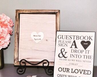 Wedding guestbook alternative shadow box frame handmade