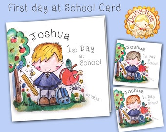 First Day At School / Nursery Boys Watercolour print greetings card with lots of sparkle!