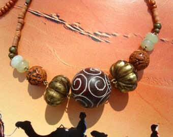 Terracotta brass jade seeds beads necklace