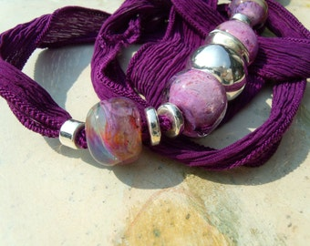 Precultivation Lampwork Silver Ceramic Silk Ribbon chain necklace bracelet