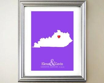 Kentucky Custom Horizontal Heart Map Art - Personalized names, wedding gift, engagement, anniversary date