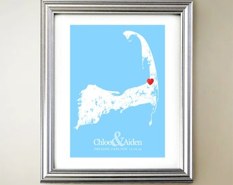 Cape Cod Custom Vertical Heart Map Art - Personalized names, wedding gift, engagement, anniversary date