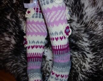 Handknitted long, over the knee socks
