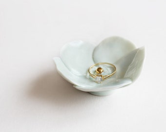 Porcelain Ring Dish Flower - Celadon  with gold center - Wedding accessory - Decoration.