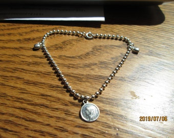 "Designer Sterling Silver 925 Beaded Bracelet  925 Added Charms Religious Mary and 2/Hearts, 7"" Long, Weight 4.6"