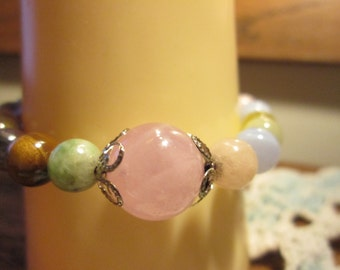 Handcrafted Genuine Pink Multi-Color Quartz Luckly Karma Bead Bracelet 6 Inches Stretchable, Wt. 21 Grams