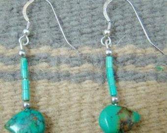 Handmade Turquoise Bear Fetish Dangle Earrings-Item # 377Z