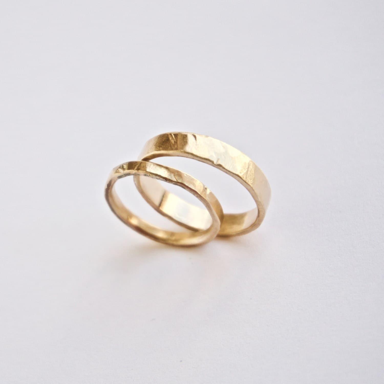 Wedding Ring Set Two Hammered Gold Rings 18 Carat Gold