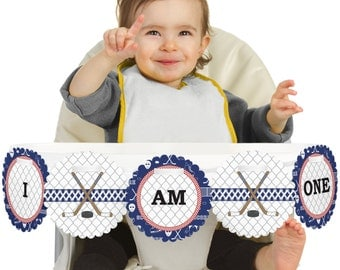 Shoots & Scores! - Hockey - 1st Birthday - I Am One - First Birthday High Chair Banner - First Birthday Party Decorations