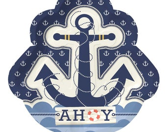 8 Count - Ahoy Nautical Dinner Plates - Baby Shower or Birthday Party Supplies