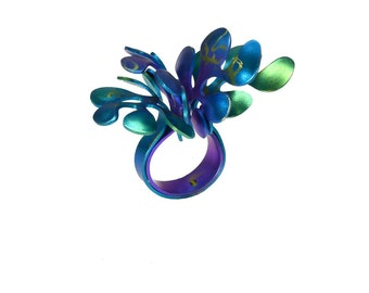 Sea Flower Ring, Titanium Ring, Colorful Ring, Statement Ring, Unique Ring, Hypoallergenic Ring, Cocktail Ring, Eco Friendly, Coral Ring