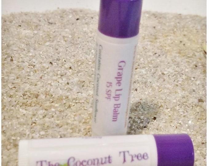 Grape Flavored Lip Balm // All Natural Lip Balm // Coconut Oil / Shea Butter /  Cocoa Butter / SPF Lip Balm