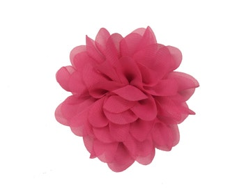 "3.75"" Scallop Hair Flowers, Wholesale Scallop Flower Heads for Flower Head Bands, Lot of 1, 2, 5 or 10, Hot Pink"