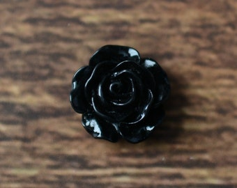 "0.6"" Resin Roses, Embellishments for Hairbows, DIY Craft Supplies, Resin Rose Flatbacks LOT OF 1 or 2 Black"