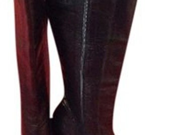 Paco Gil NEW! Vintage Black Leather Knee High Boots Size US 7.5B Retail 250