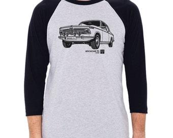 1968 BMW 2002 ti Graphic printed on Men's American Apparel 3/4 Sleeve Baseball Shirt