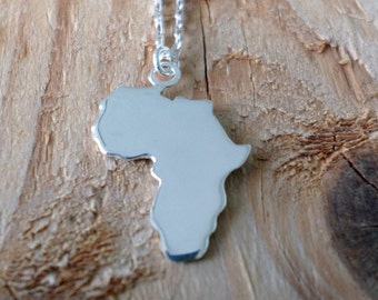 Africa Necklace-Africa Pendant-Africa Continent Silver Necklace-Africa Sterling Necklace-Africa Jewelry