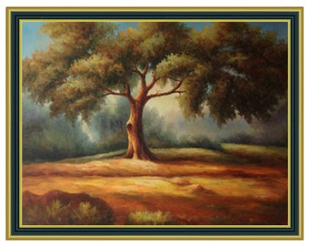 Original Oil Painting of Oak Tree  on Stretched Canvas (36x48) 4 frame choices