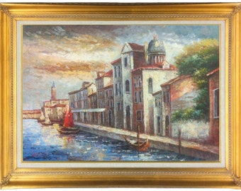 Oil Painting of Venice Italy Walkway with Boats, Buildings, and Ocean 24 X 36 Framed in Modern Floater or Gold Frame