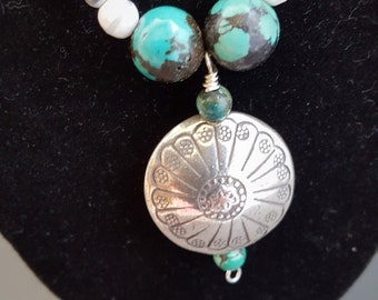 Silver medallion necklace with turquoise