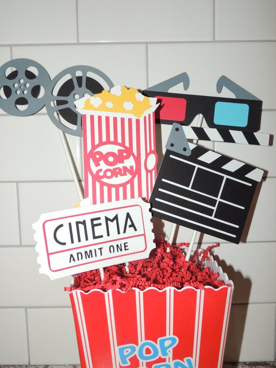 Movie birthday party centerpiece cinema birthday party - Deco de table theme cinema ...