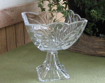 Small Square Compote Glass Pedestal Bowl Drapes and Fans Clear Footed Dish Candy or Trinket Retro Home Decor Centerpiece Compote