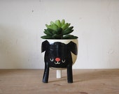 Ships on March 27: Small Three-legged Planter with Black Dog on White