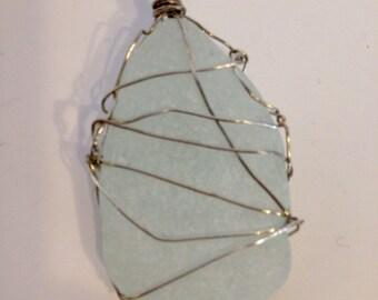 Medium Light Blue Sea Glass Pendant