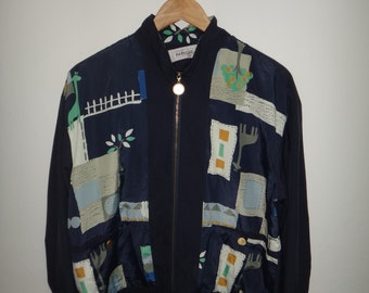 Paruche Animal Floral Print Silk Baroque Style Windbreaker Jacket