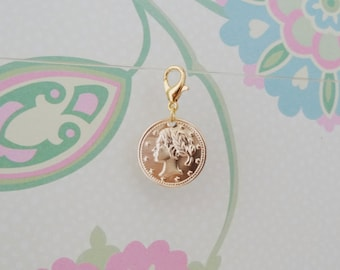 Gold Coin Clip On Bracelet Charm/Purse Charm/Zipper Pull Charm/Planner Charm - Ready to Ship