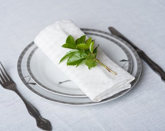 """Set of 10 white Linen napkins in size 16"""" kitchen flax linens housewares tablecloth Wedding holiday ready to ship"""
