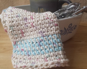 Speckled Oatmeal and Light Blue Handmade Cotton Kitchen and Dish Cloth